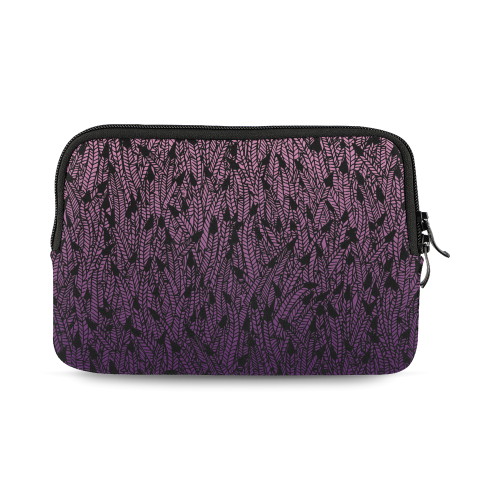 pink purple ombre feather pattern black iPad mini