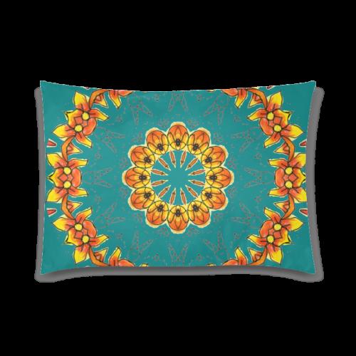 "Dancing Orange Yellow Flowers Ladybugs Mandala Deep Teal Custom Zippered Pillow Case 20""x30""(Twin Sides)"