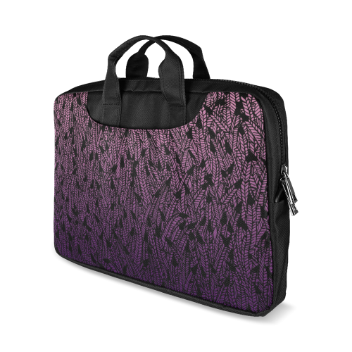 """pink purple ombre feather pattern black Macbook Air 11""""(Two sides)"""