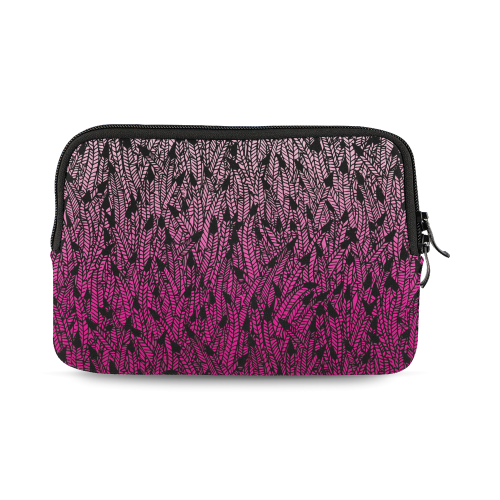 pink ombre feathers pattern black iPad mini