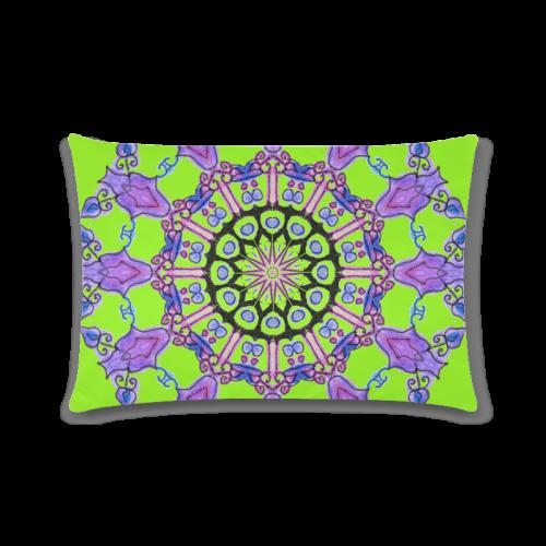 "Violet Purple Beads, Jewels, Flowers Mandala Lime Custom Zippered Pillow Case 16""x24""(Twin Sides)"