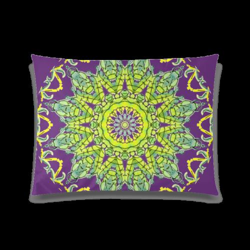 "Lime Green Yellow Leaves Star Matrix Mandala Plum Purple Custom Zippered Pillow Case 20""x26""(Twin Sides)"