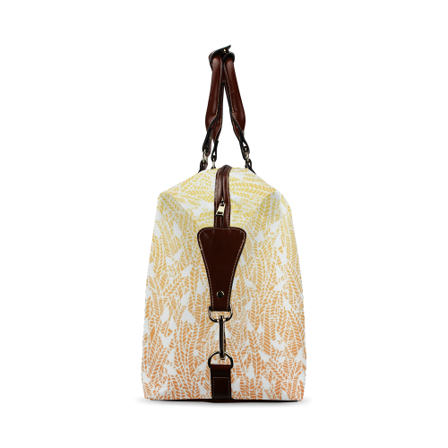 yellow orange ombre feather pattern white Classic Travel Bag (Model 1643)