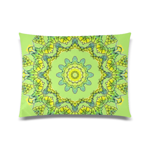 "Glowing Green Leaves Flower Arches Star Mandala Spring Bud Custom Zippered Pillow Case 20""x26""(Twin Sides)"