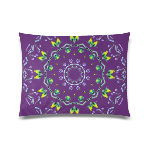 "Green Yellow Purple Leaves Bugs Mystical Matrix Plum Purple Custom Zippered Pillow Case 20""x26""(Twin Sides)"
