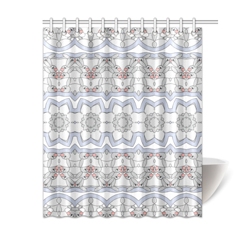 Cute rabbits bunnies pattern blue gray shower curtain 60 for Gray curtains png