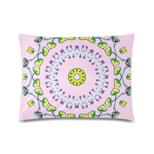 """Circle Dance Yellow Leaves Flower Matrix Mandala Pink Lace Custom Picture Pillow Case 20""""x26"""" (one side)"""