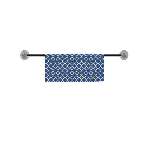 "dark blue white quatrefoil classic pattern Square Towel 13""x13"""