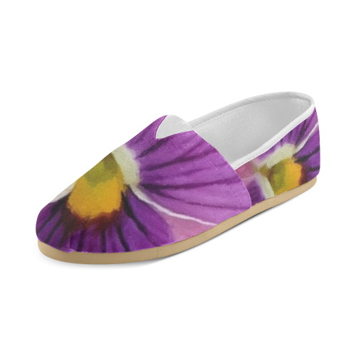 Pink and Purple Pansy Unisex Casual Shoes (Model 004)