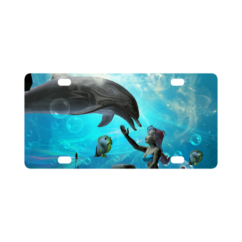 Dolphin with mermaid Classic License Plate