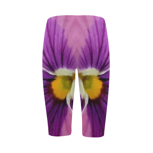 Pink and Purple Pansy Hestia Cropped Leggings (Model L03)