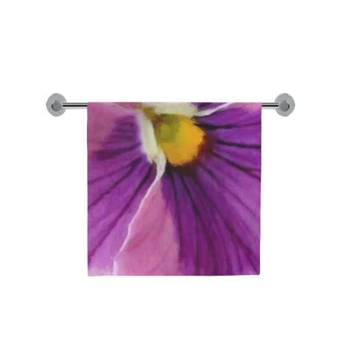 "Pink and Purple Pansy Bath Towel 30""x56"""