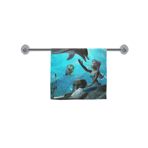 "Dolphin with mermaid Custom Towel 16""x28"""