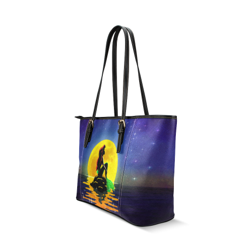 The Mermaid and the Moon Leather Tote Bag/Small (Model 1640)