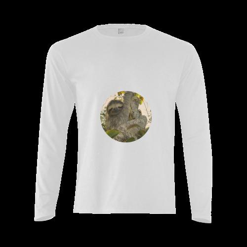 Awesome Animal - Sloth Sunny Men's T-shirt (long-sleeve) (Model T08)