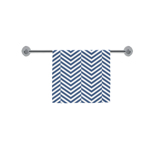 "dark blue and white classic chevron pattern Custom Towel 16""x28"""