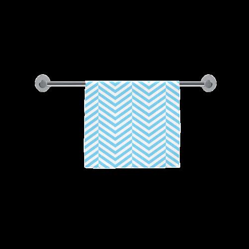 "bright blue and white classic chevron pattern Custom Towel 16""x28"""