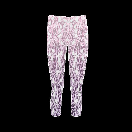 pink purple ombre feather pattern white Capri Legging (Model L02)