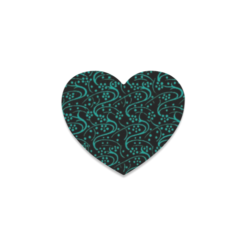 Vintage Swirl Floral Teal Turquoise Black Heart Coaster
