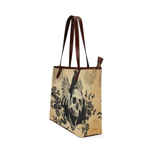 Awesome skull with crow Shoulder Tote Bag (Model 1646)