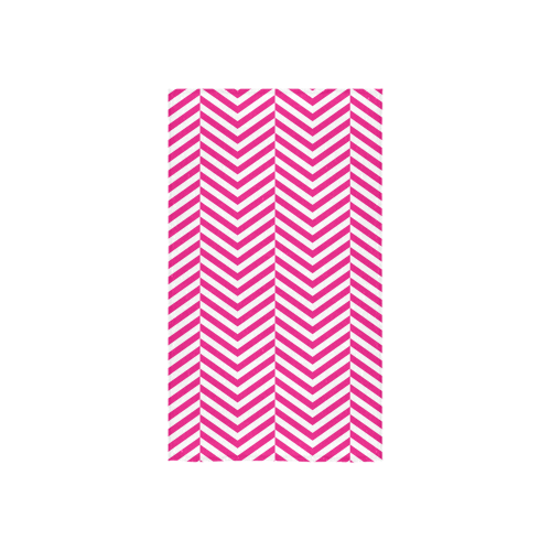 "hot pink and white classic chevron pattern Custom Towel 16""x28"""