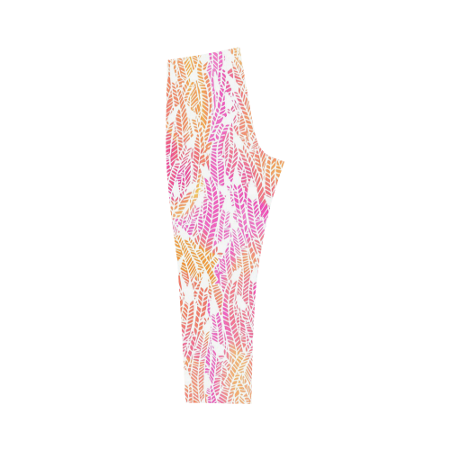 pink yellow white feather pattern Capri Legging (Model L02)