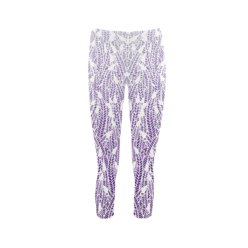 purple ombre feathers pattern white Capri Legging (Model L02)