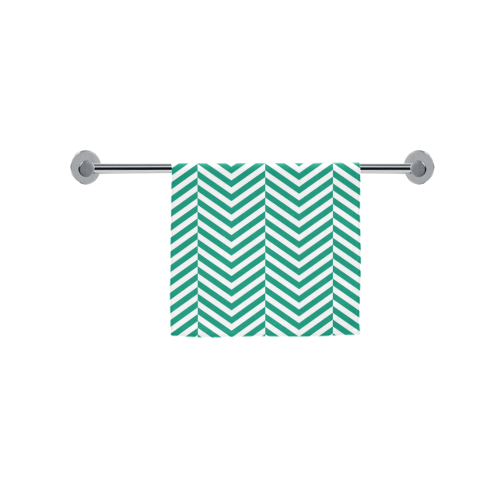 "emerald green and white classic chevron pattern Custom Towel 16""x28"""