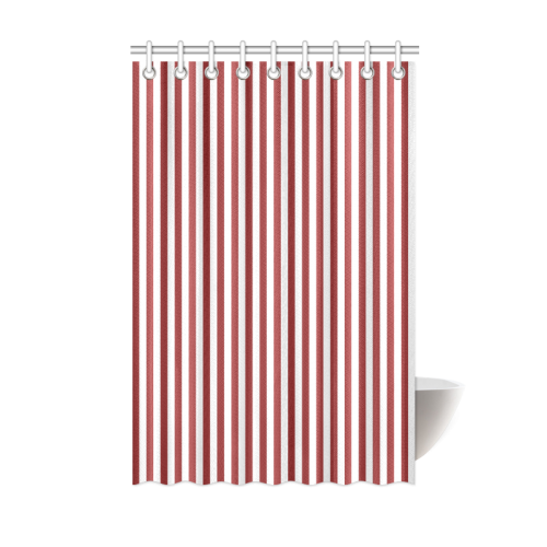 Ruby Red And White Stripes Pattern Shower Curtain 48 X72 Id D159222