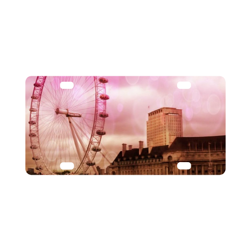 Travel-London, pink Classic License Plate