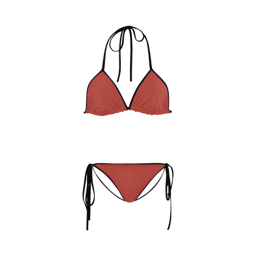 Aurora Red Color Accent Custom Bikini Swimsuit