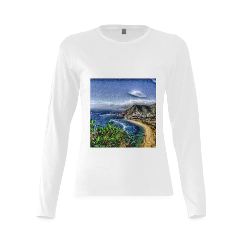 Travel-painted Tenerife Sunny Women's T-shirt (long-sleeve) (Model T07)