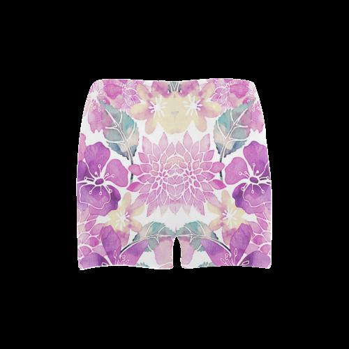 Watercolor Flower Pattern Briseis Skinny Shorts (Model L04)