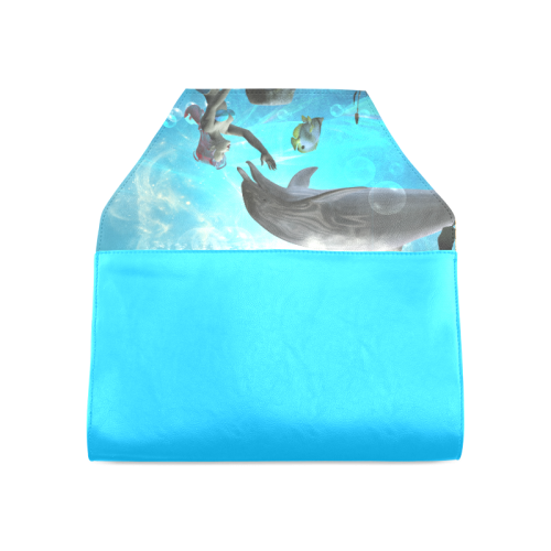Dolphin with mermaid Clutch Bag (Model 1630)