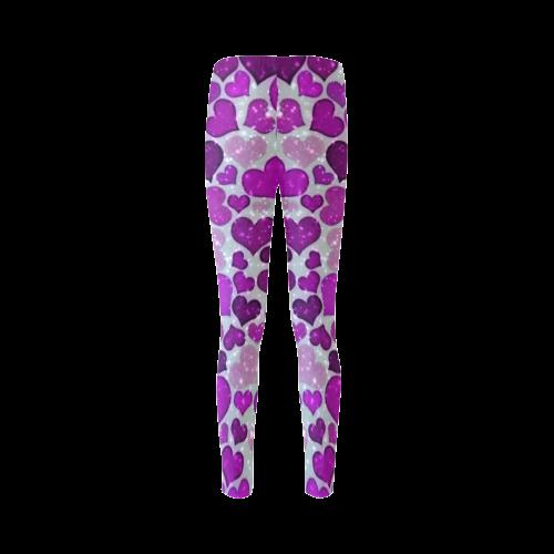 sparkling hearts purple Cassandra Women's Leggings (Model L01)