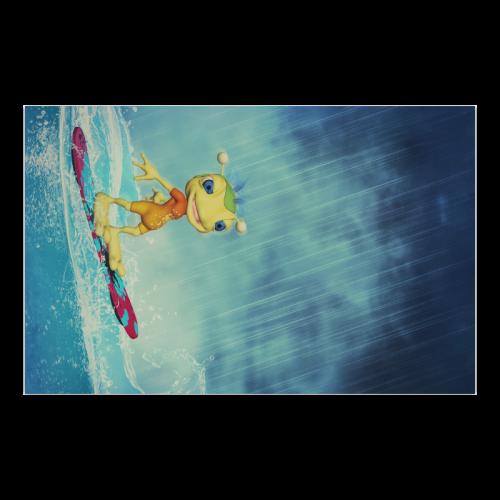 """Surfing Alien Poster 23""""x36"""""""