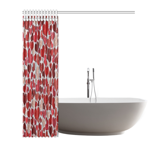 "sparkling hearts, red Shower Curtain 66""x72"""