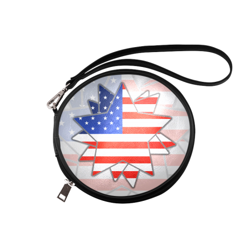 The abstract star with american flag Round Makeup Bag (Model 1625)