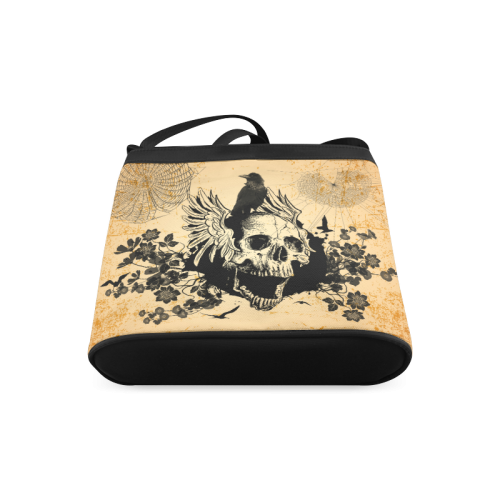 Awesome skull with crow Crossbody Bags (Model 1613)