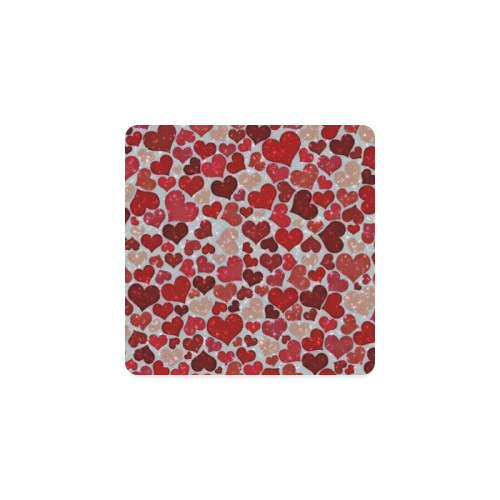 sparkling hearts, red Square Coaster