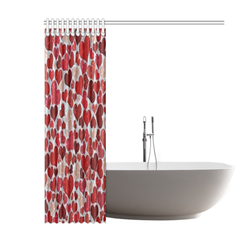 "sparkling hearts, red Shower Curtain 60""x72"""