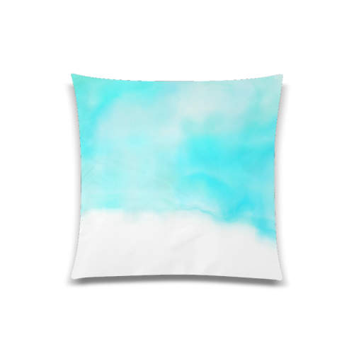 "blue - turquoise bright watercolor abstract Custom Zippered Pillow Case 20""x20""(Twin Sides)"