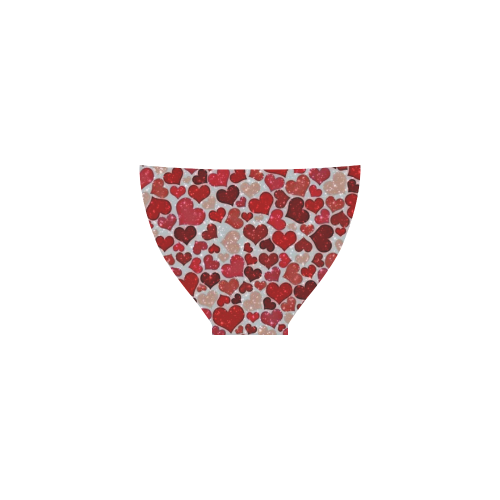sparkling hearts, red Custom Bikini Swimsuit