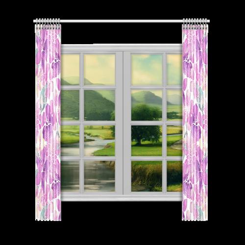 """Watercolor Flower Pattern Window Curtain 52""""x120""""(Two Piece)"""