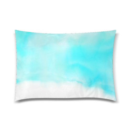"""blue - turquoise bright watercolor abstract Custom Zippered Pillow Case 20""""x30""""(Twin Sides)"""