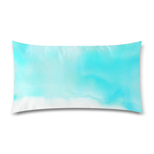 """blue - turquoise bright watercolor abstract Rectangle Pillow Case 20""""x36""""(Twin Sides)"""