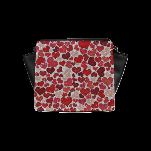 sparkling hearts, red Satchel Bag (Model 1635)