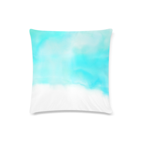 "blue - turquoise bright watercolor abstract Custom Zippered Pillow Case 16""x16""(Twin Sides)"