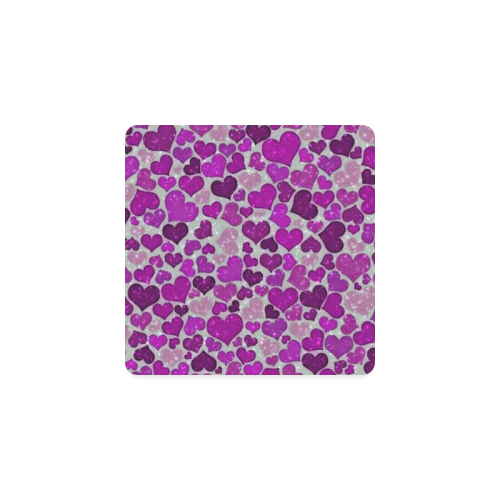 sparkling hearts purple Square Coaster