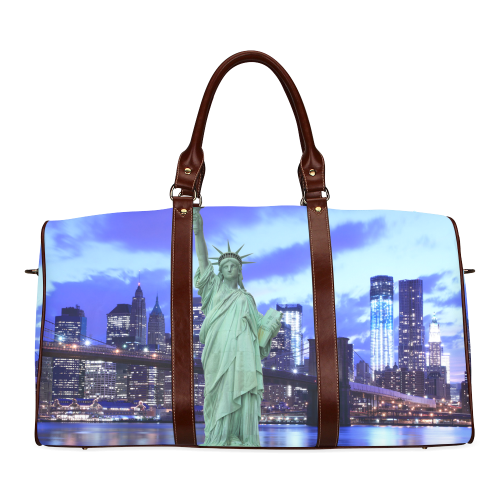 Brooklyn Bridge and The Statue of Liberty , New Yo Waterproof Travel Bag/Small (Model 1639)